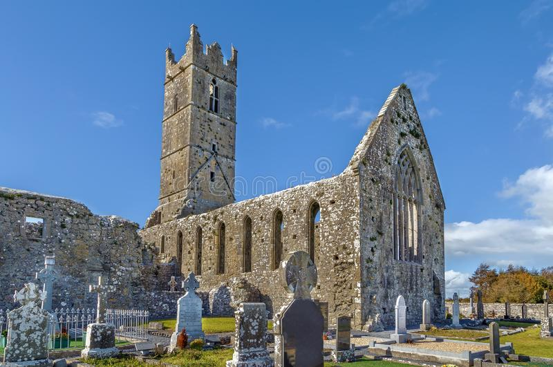 Claregalway Friary, Ireland. Claregalway Friary is a medieval Franciscan abbey located in the town of Claregalway, County Galway, Ireland stock photography