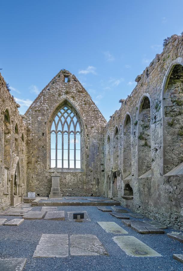 Claregalway Friary, Ireland. Claregalway Friary is a medieval Franciscan abbey located in the town of Claregalway, County Galway, Ireland stock image