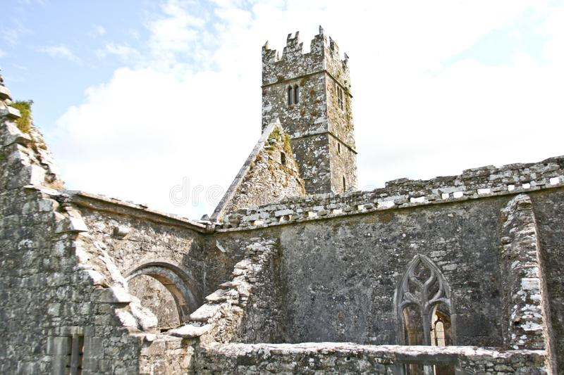 Ruins of Claregalway Friary with bell tower, west of Ireland. The Claregalway Friary is a medieval Franciscan abbey located in the town of Claregalway, County royalty free stock photos