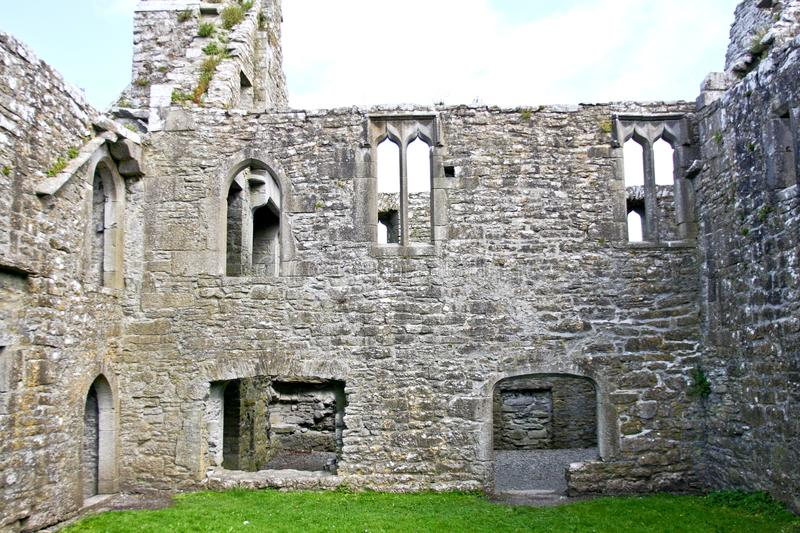 Ruins of Claregalway Friary, interior, west of Ireland. The Claregalway Friary is a medieval Franciscan abbey located in the town of Claregalway, County Galway stock images