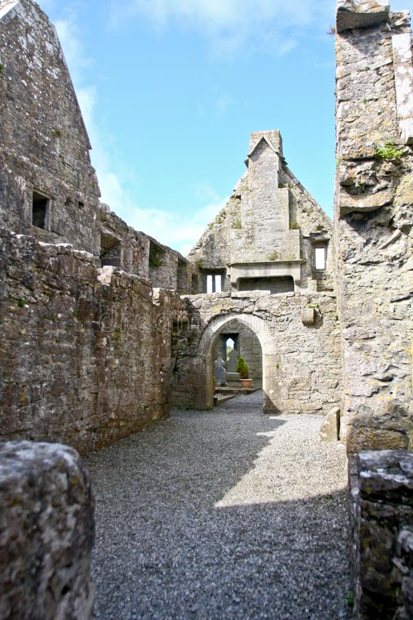 Ruins of Claregalway Friary, west of Ireland. The Claregalway Friary is a medieval Franciscan abbey located in the town of Claregalway, County Galway, Ireland stock photo