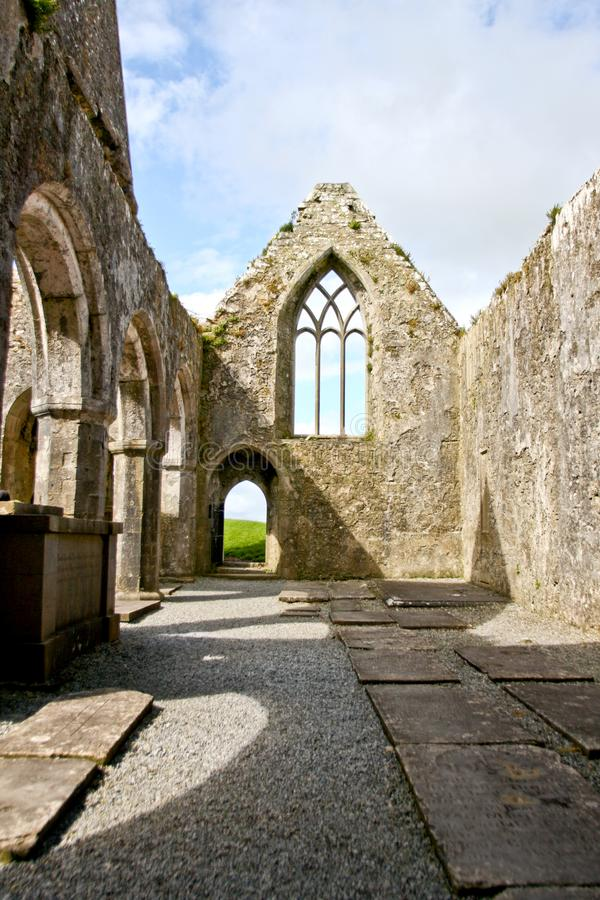 Ruins of Claregalway Friary, west of Ireland. The Claregalway Friary is a medieval Franciscan abbey located in the town of Claregalway, County Galway, Ireland royalty free stock photos