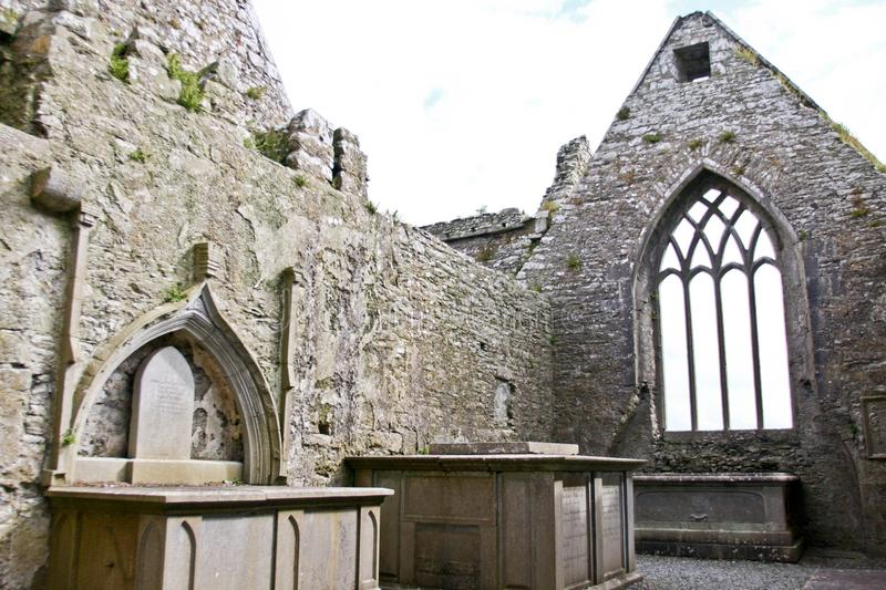 Ruins of Claregalway Friary, west of Ireland. The Claregalway Friary is a medieval Franciscan abbey located in the town of Claregalway, County Galway, Ireland stock photography