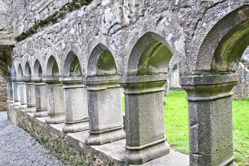 Ruins of Claregalway Friary, west of Ireland. The Claregalway Friary is a medieval Franciscan abbey located in the town of Claregalway, County Galway, Ireland stock image
