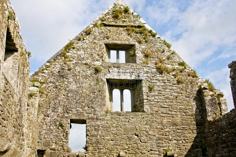 Ruins of Claregalway Friary, west of Ireland. The Claregalway Friary is a medieval Franciscan abbey located in the town of Claregalway, County Galway, Ireland royalty free stock photo