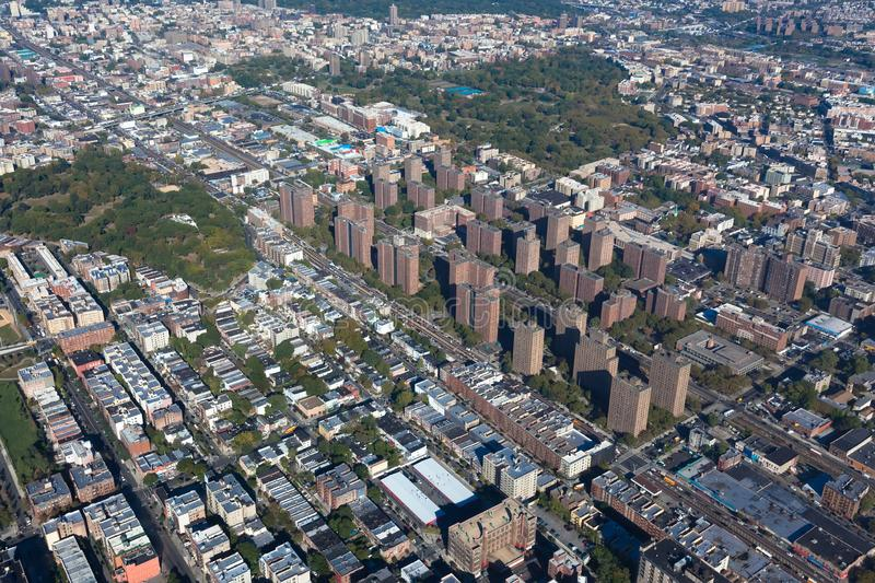 Claremont village. New York. Bronx. Helicopter view. Claremont village in New York city. Borough Bronx. Helicopter view royalty free stock photography