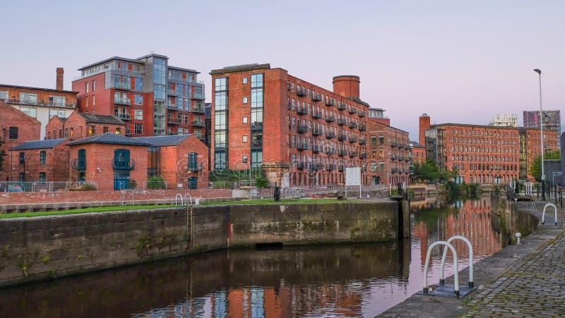 Clarence Dock bij schemer, Leeds royalty-vrije stock fotografie