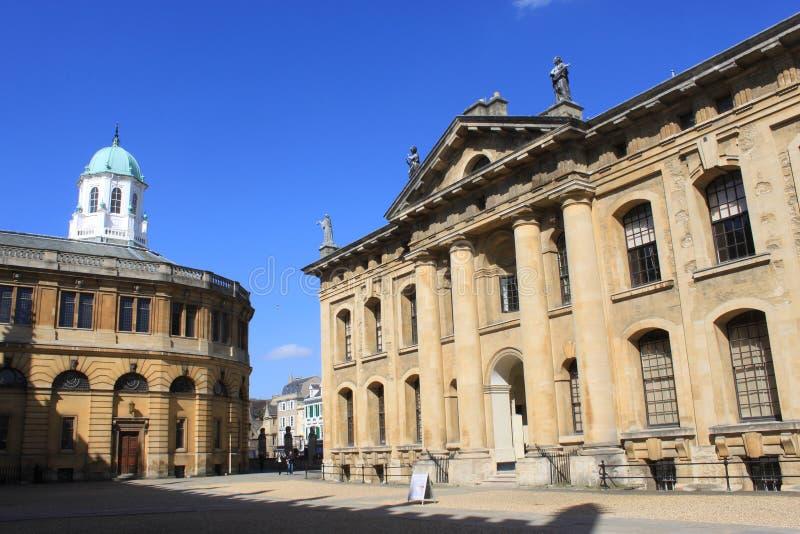 Clarendon budynek i Sheldonian Theatre, Oxford fotografia stock