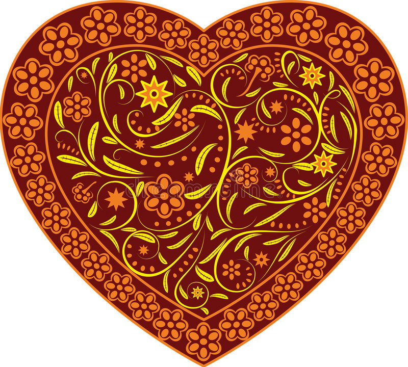 Download Claret heart with ornament stock vector. Image of love - 4705017