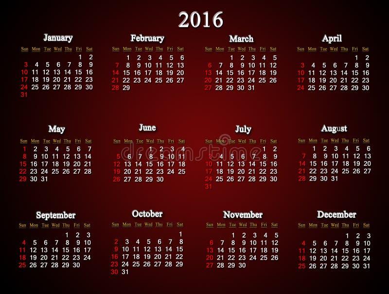 Claret kalendarz dla 2016 Amerykańskich wariantów ilustracja wektor