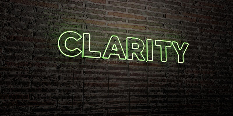 A CLARIDADE - sinal de néon realístico no fundo da parede de tijolo - 3D rendeu a imagem conservada em estoque livre dos direitos ilustração royalty free