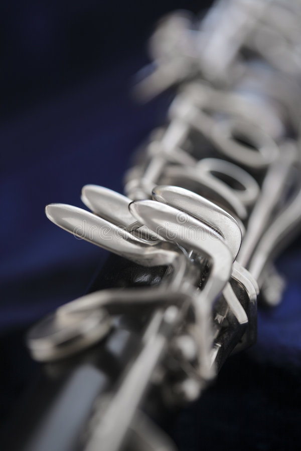 Clarinet. Old Clarinet in closeup, short depth of field stock image