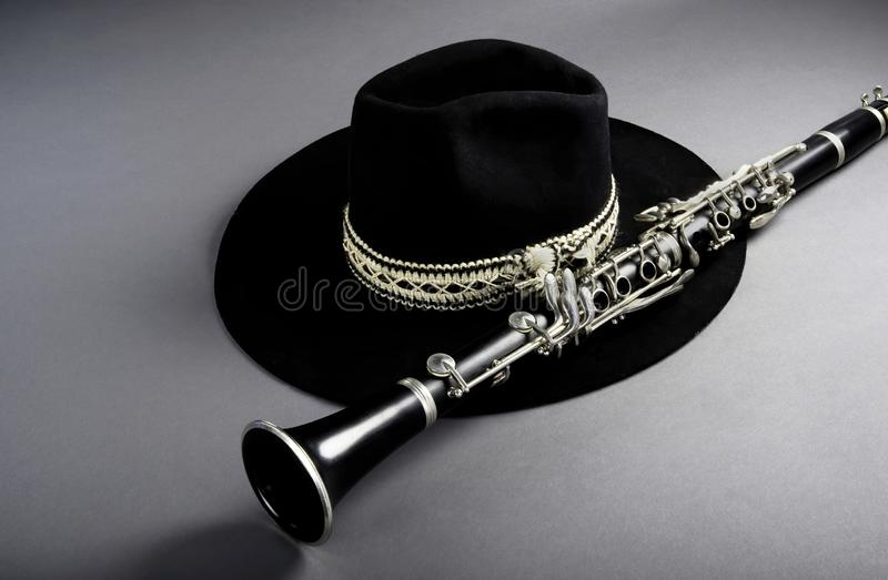 Clarinet and Black Jazz Hat. With room for your type stock photo