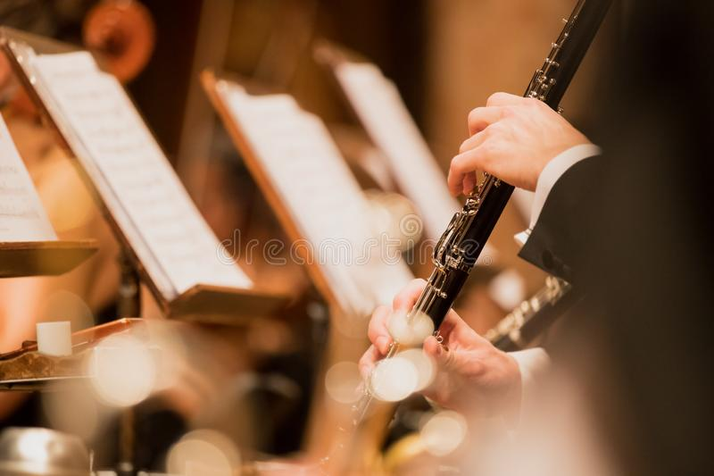 Clarinet during a classical concert music. Close-up stock images