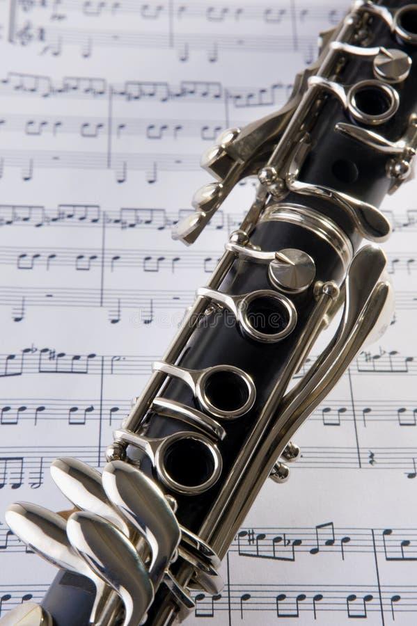 Clarinet e notas fotografia de stock