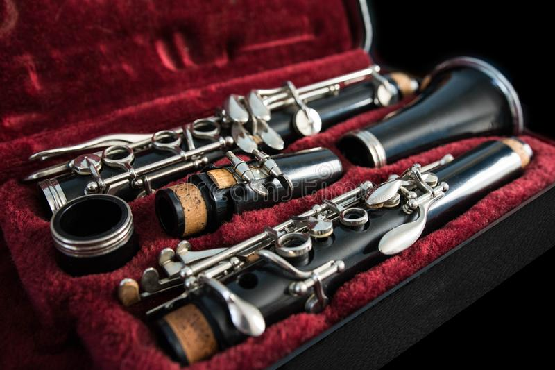 Clarinet in its case royalty free stock photography