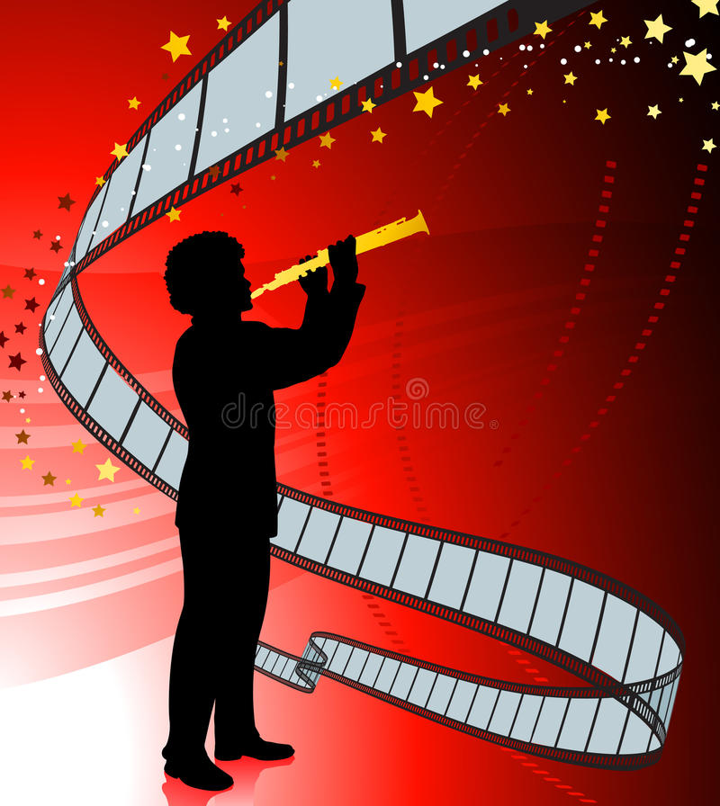 Download Clarinet Player On Film Reel Background Stock Illustration - Illustration of male, musician: 12393852