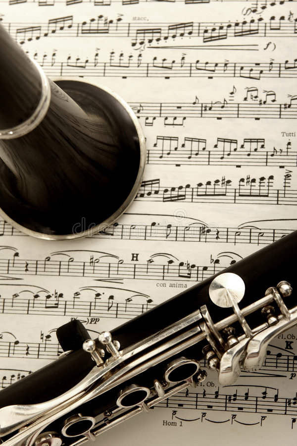 Clarinet and sheet music royalty free stock photo