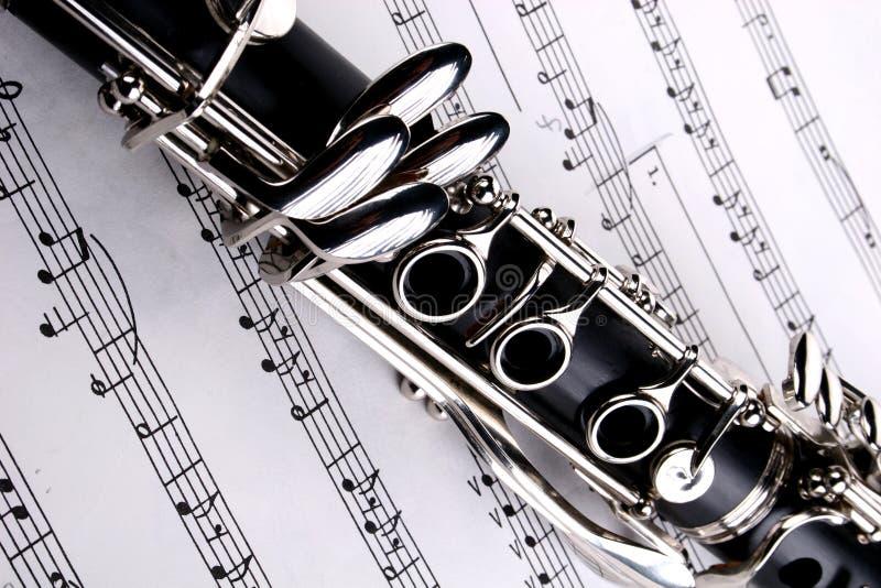 Clarinet y notas fotografía de archivo