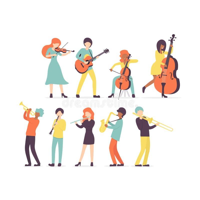 Clarinete,萨克斯管,喇叭,长笛,伸缩喇叭,小提琴,低音提琴,吉他,cello2 库存例证