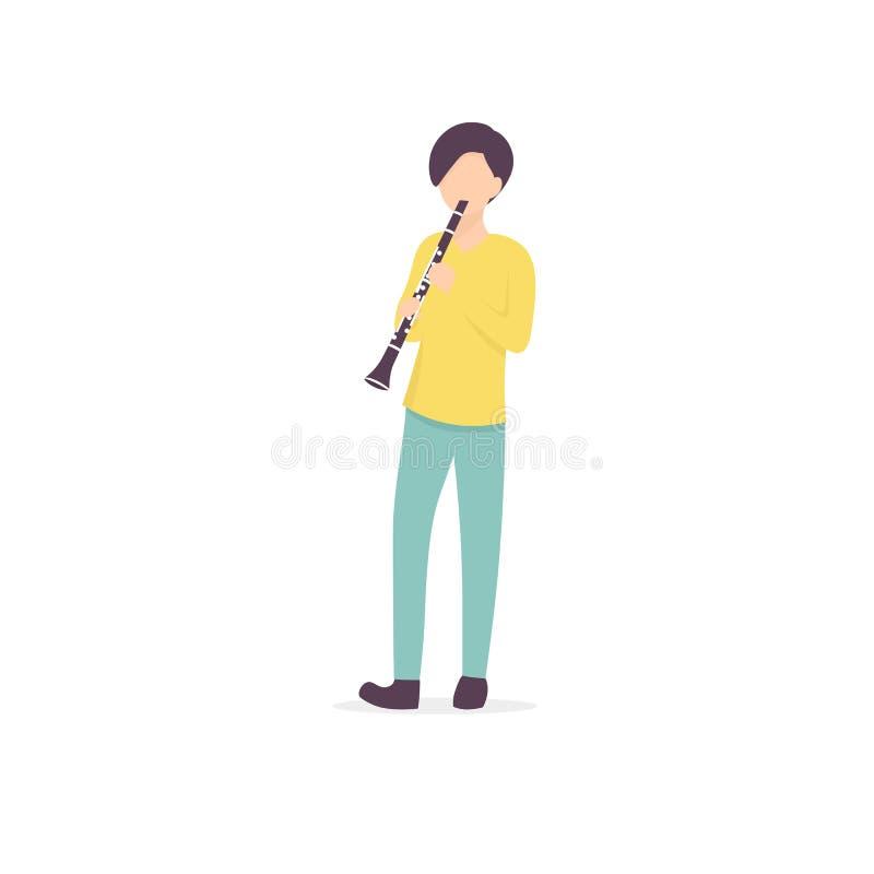 Clarinet man character musician royalty free illustration