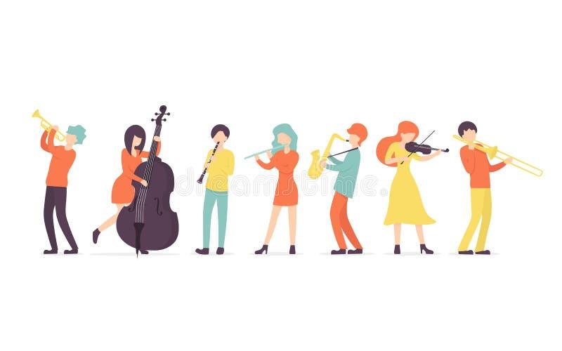 Clarinete, saxofoon, trompet, fluit, trombone, viool, contrabas royalty-vrije illustratie