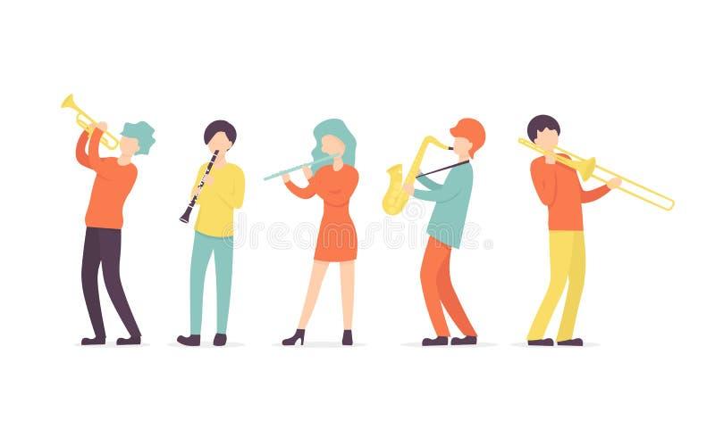 Clarinete, saxophone, trumpet, flute and trombon stock illustration