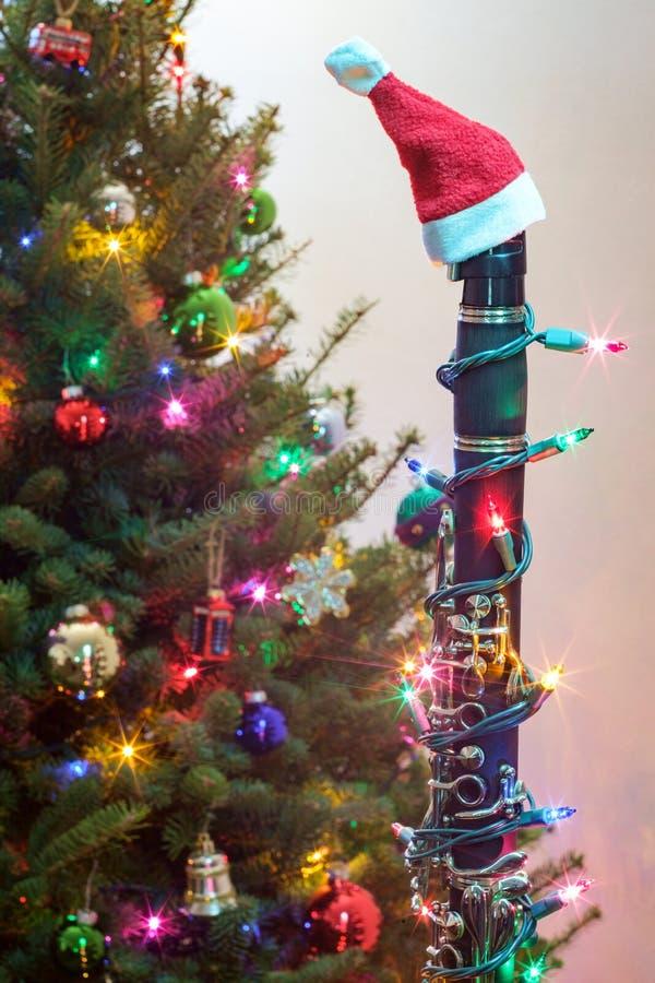Clarinette Santa Hat de No?l photographie stock libre de droits