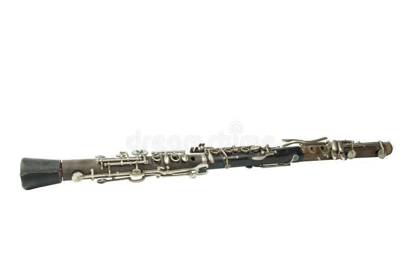 Clarinette utilisée de vintage sur le fond blanc images libres de droits