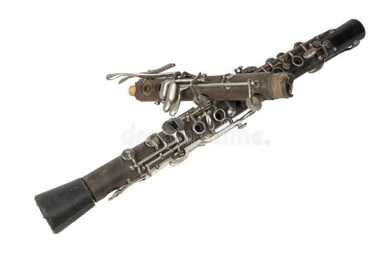 Clarinette utilisée sur le fond blanc photos libres de droits