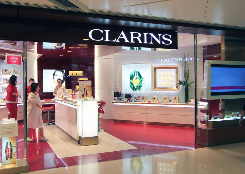 Clarins shop in hong kong. Clarins shop, located in Telford Plaza, Kowloon Bay, Hong Kong. Clarins shop manily sells skin care, face creams, body lotions, sun royalty free stock photography