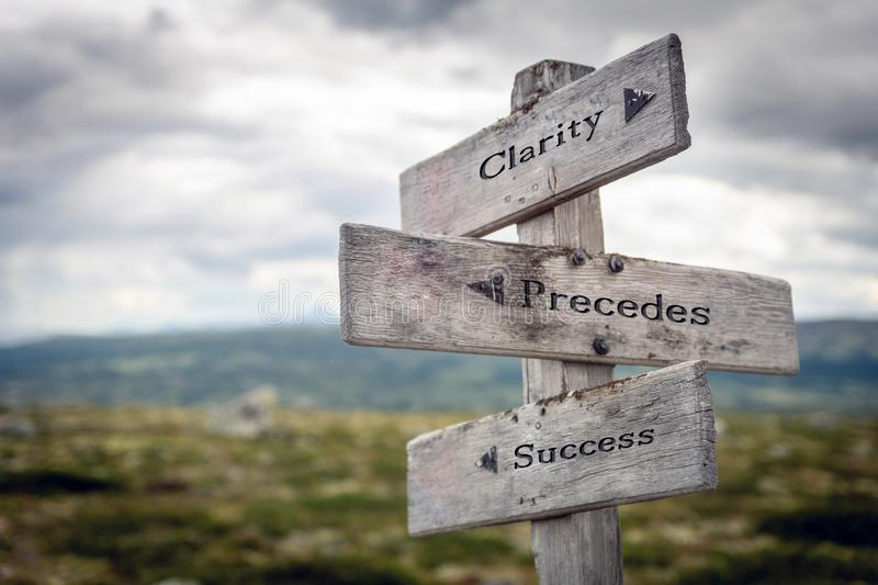 Clarity, precedes and success text on wooden sign post outdoors in landscape scenery. royalty free stock photography