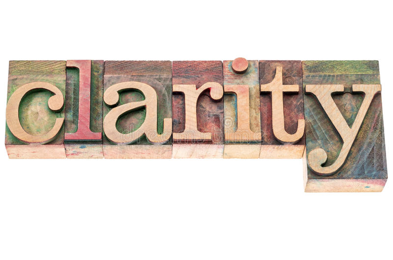 Clarity word in wood type royalty free stock photos