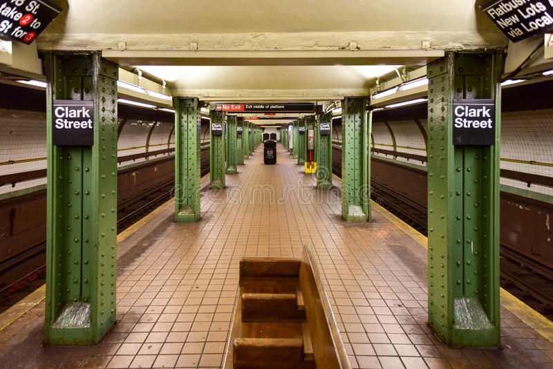 Clark Street Subway Station - Brooklyn, New York. BROOKLYN, NEW YORK - MARCH 8, 2015: MTA Clark Street Subway Station (2, 3) in the Brooklyn Heights area of royalty free stock photos