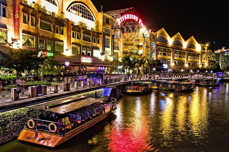 Clarke Quay au fleuve de Singapour image stock