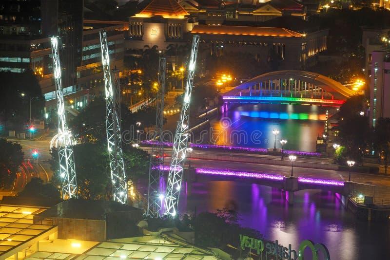 Clarke Quay bij nacht, Singapore, Mei, 2018 royalty-vrije stock foto