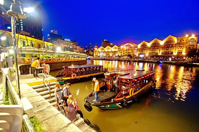 Clarke Quay en el río de Singapur foto de archivo libre de regalías