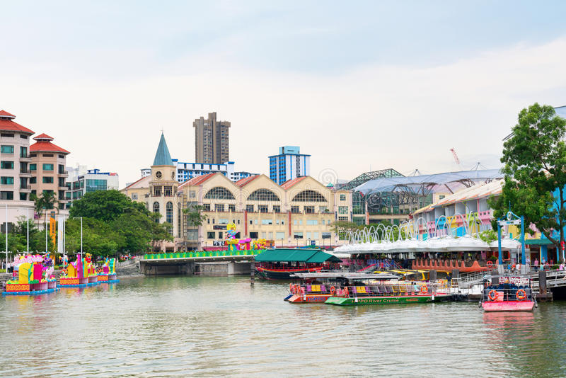 Clarke Quay is a historical riverside quay in Singapore stock photography