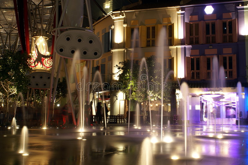 Download Clarke Quay Night Fountains Stock Image - Image of night, external: 4235131