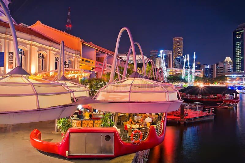 Clarke Quay Night at Singapore stock photography