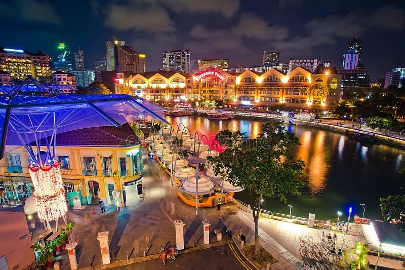 Clarke Quay Night at Singapore royalty free stock image