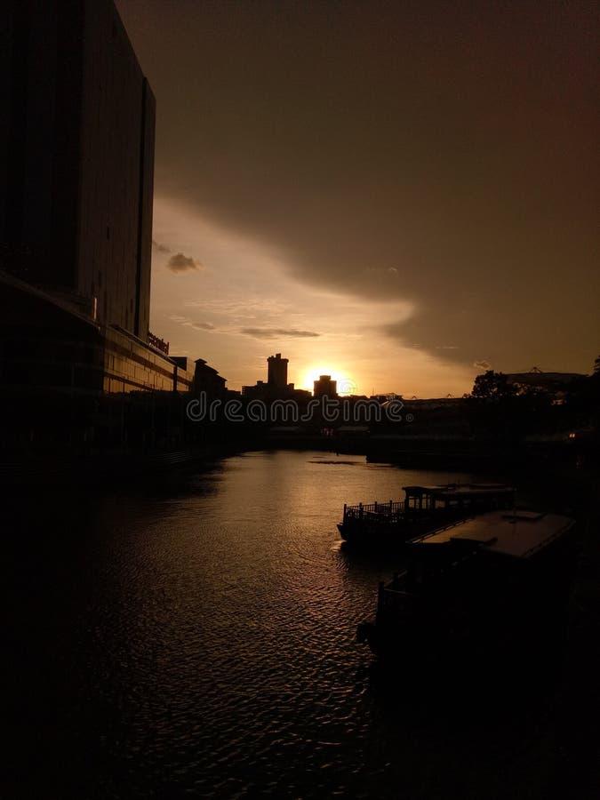 Clarke Quay no crepúsculo imagens de stock royalty free