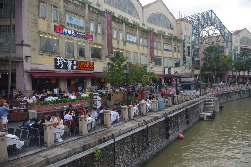 Clarke Quay no rio de Singapore fotografia de stock