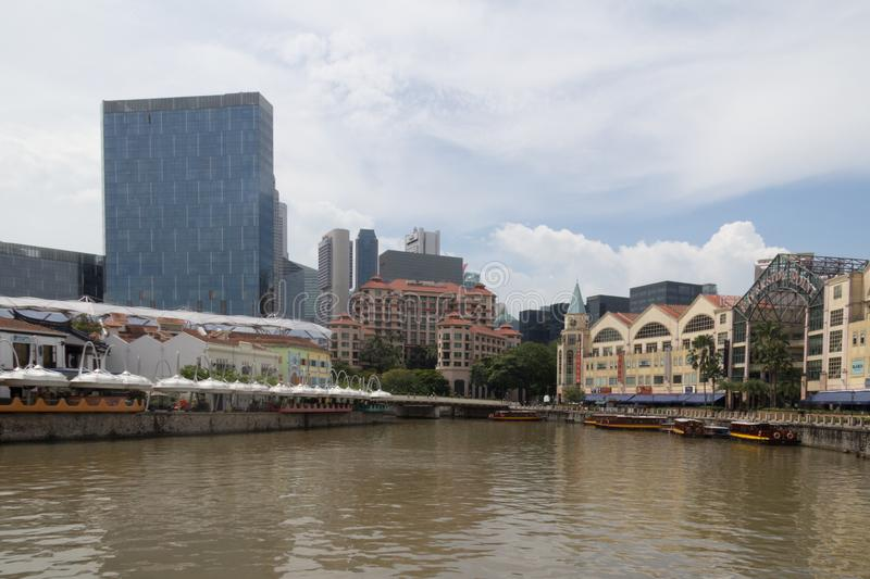 Clarke Quay and Riverside Point on the Singapore river stock photography