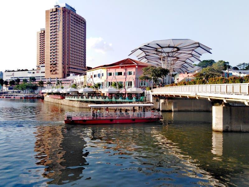 clarke quay rzeka Singapore zdjęcie stock