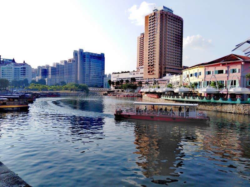 clarke quay rzeka Singapore zdjęcia royalty free