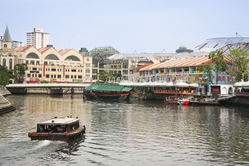 Ville de Singapour de rive de quai de Clarke photo stock
