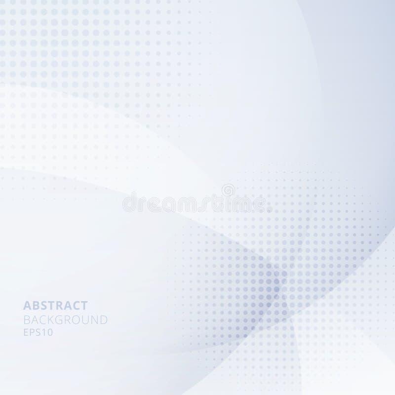 Claro abstrato - círculos azuis que sobrepõem com a reticulação no fundo branco Uso geométrico do projeto do molde para o folheto ilustração stock