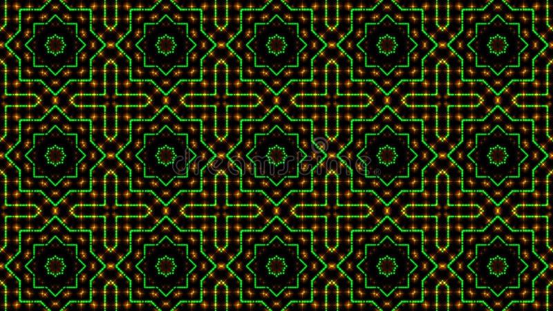 Claro animado shinning pontos verdes e alaranjados e formas das estrelas ilustração stock