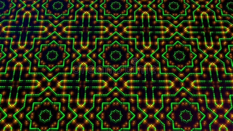 Claro animado shinning pontos verdes e amarelos e formas das estrelas ilustração do vetor